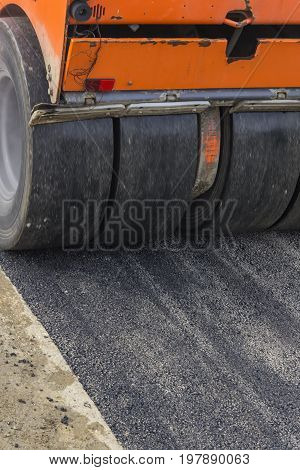 Detail Of Road Roller During Asphalt Patching Works 4