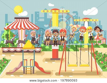 Stock vector illustration of cartoon characters children schoolboys schoolgirls classmates resting in amusement park ride on swing, chain or horses carousel, roller coaster, extreme rest in flat style