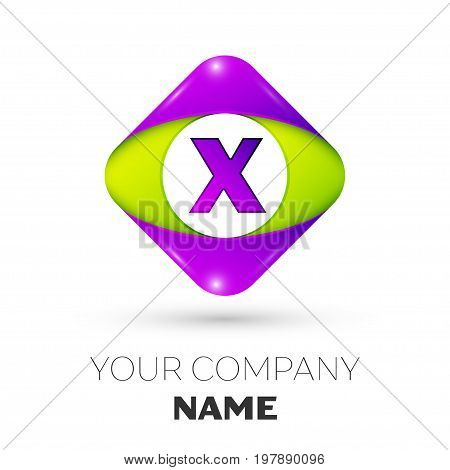 Realistic Letter X vector logo symbol in the colorful rhombus on white background. Vector template for your design