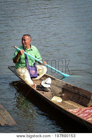 People Rowing Boat On Inle Lake, Myanmar