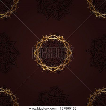 Classic vintage background. Seamless pattern on brown background with golden elements. Seamless classic vector golden pattern. Traditional orient ornament.