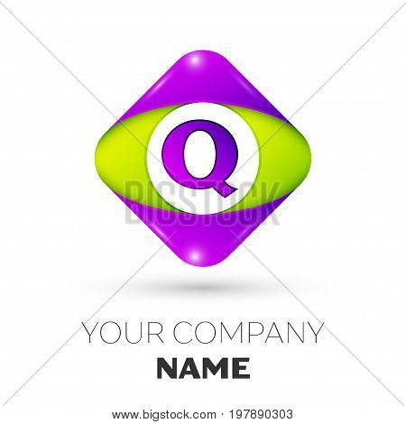 Realistic Letter Q vector logo symbol in the colorful rhombus on white background. Vector template for your design