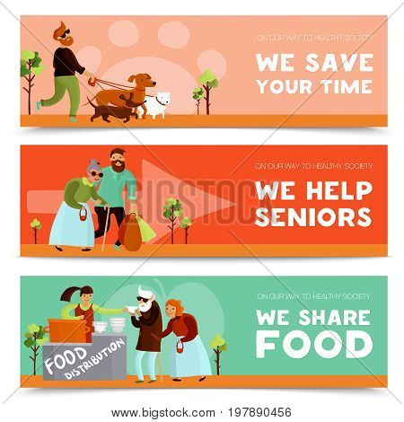 Set of three volunteers horizontal banners with humanitarians assisting senior citizens sharing food and walking dogs vector illustration