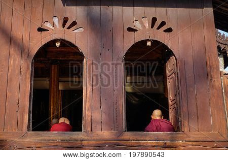 Wooden Buddhist Temple In Shan State, Myanmar