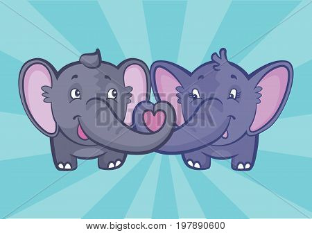 Two cute elephants in love making a heart shape with their trunks.