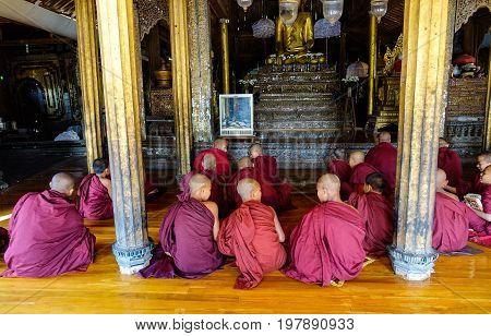 Novice Boys Studying At Buddhist Monastery