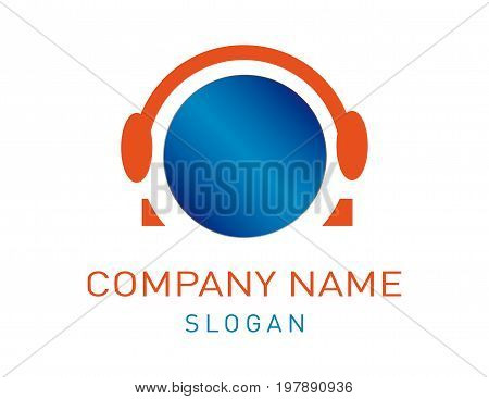 headphones vector logo on a white background