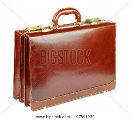 Classic Ginger Leather Briefcase with Gold Details isolated on White background