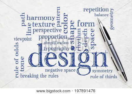 design elements and rules - a word cloud on white textured lokta paper