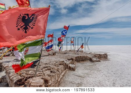Flags of various nations at Salar de Uyuni ( Salt Lake) Bolivia