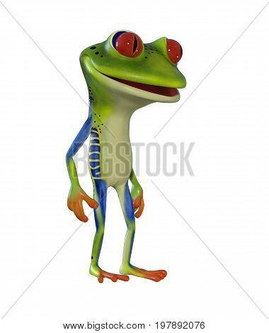 1. 3d illustration of a green cartoon frog standing idle.