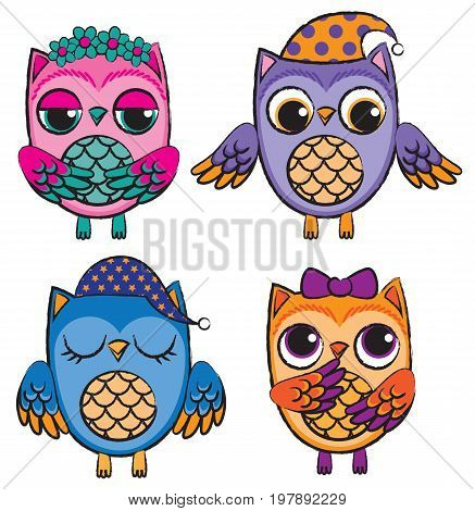 Set of four cute colorful vector owls drawn with scratchy lines.