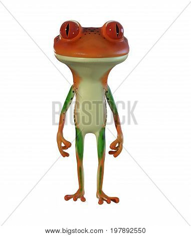 3d illustration of an orange cartoon frog standing idle.