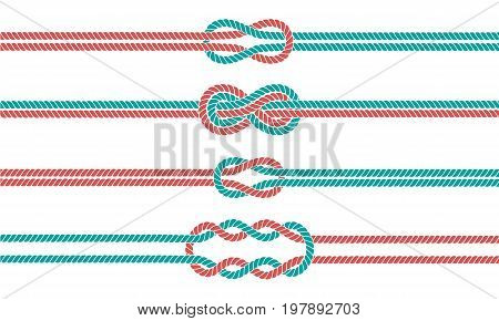Sailor rope knot dividers and borders set. Nautical infinity sign. Tying the Knot concept. Graphic design element. Wedding invitations, baby shower, birthday card, scrapbooking. Vector illustration