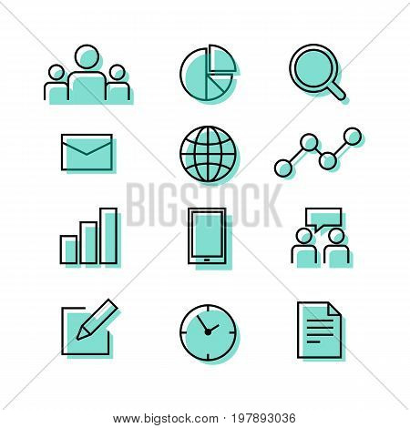 Buiness corporate teamwork graph chart paper and time icon set