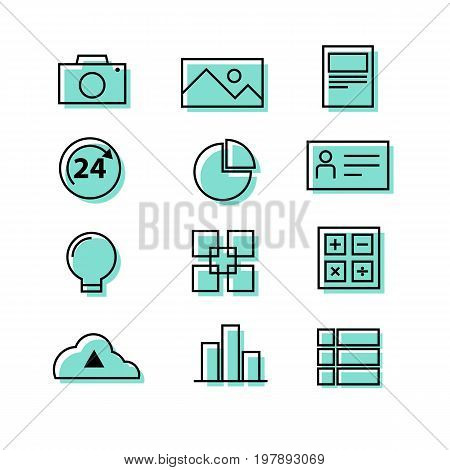 Buiness corporate people graph chart light bubl upload cloud icon set