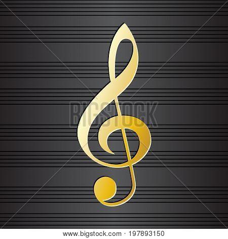 Treble clef on music staff background. Golden musical symbol on black background. Graphic design element for choir flayer, concert invitation, poster, scrapbooking. Vector illustration.