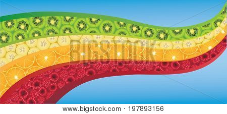 Vector illustration of orange slices kiwifruit slices banana slices and raspberries arranged in a wave design.