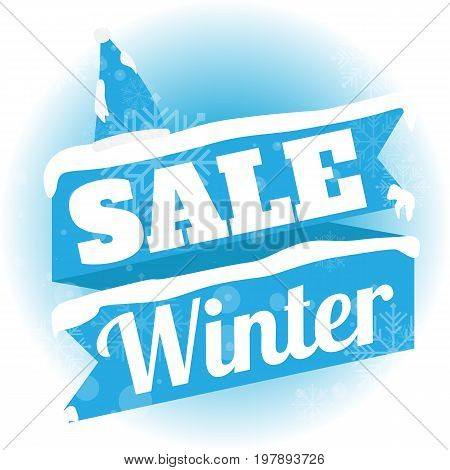 Winter sale. white and blue background and with a discount vector illustration