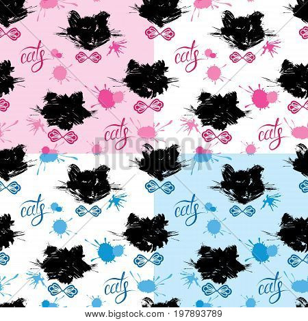 Seamless pattern with black cat heads and blots in grunge style. Calligraphic word cats. Childish design for boys and girls on blue and pink backgrounds. Fabric print. Repeating wallpaper.