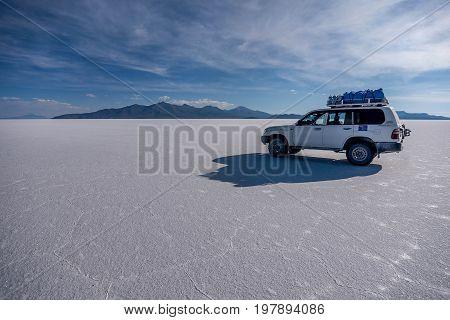 Uyuni, Bolivia- March 25, 2017:Off- road car on lake Salar de Uyuni Bolivia
