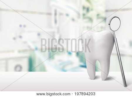Big dentist mirror tooth white background isolated