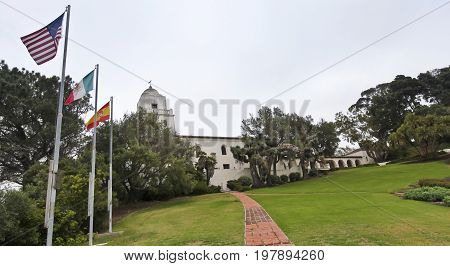SAN DIEGO, CALIFORNIA, JUNE 10. Presidio Park on June 10, 2017, in San Diego, California. An Exterior View at the Junipero Sierra Museum in Presidio Park, San Diego.