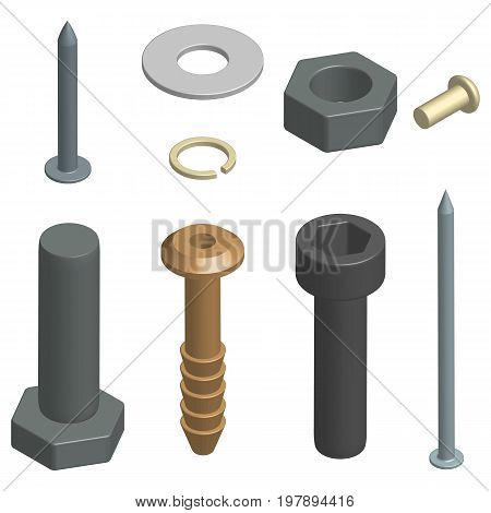 Set of different fasteners isolated on white background. 3D isometric style vector illustration.