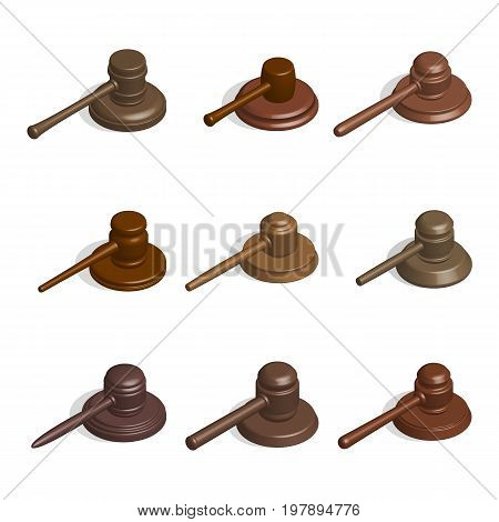 Gavel icons collection of wooden hammers of judges and stands different shapes isolated on white background. 3D isometric style vector illustration.