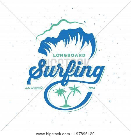 Surfing typography print. Retro style lettering print. Design element for t-shirt prints posters advertising. Vector vintage illustration.