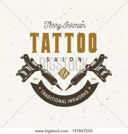 Tattoo studio emblem. Hand holding tattoo machine. Tattoo shop advertising. Vector vintage illustration.