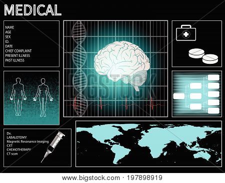 medical history patient technology display graphic ekg wave brain human
