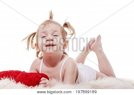 Toddler Girl  Lying In Bed