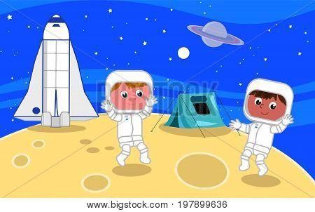 Cartoon spacemen on the moon illustration vector