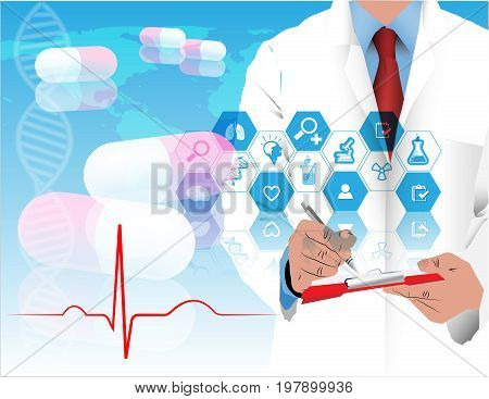 doctor and medcine wave ekg background world earth concept healthcare