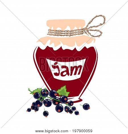 Jar of black currant jam. Vector illustration
