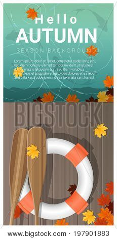 Hello autumn background with colorful leaves on wooden pier , vector , illustration