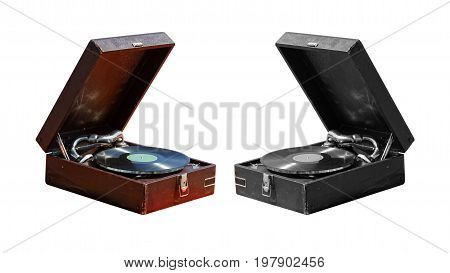 Old vintage gramophone suitcase. Color and monochrome images isolated on white.
