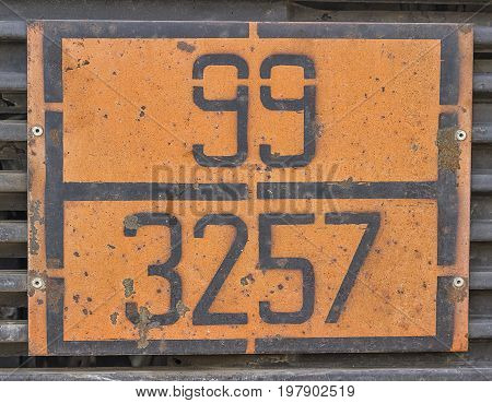 Orange Plate With Hazard Identification Number On Bitumen Tank