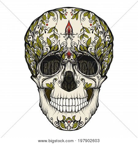 Sugar skull. The traditional symbol of the Day of the Dead. Stock line vector illustration.