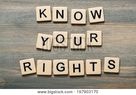 Sign wooden wood cubes know your rights game play
