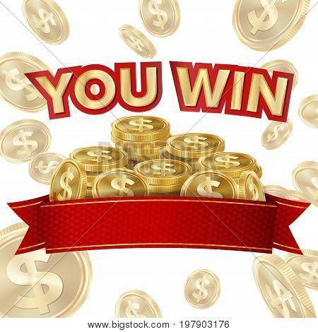 Big Win Isolated Vector. Golden Casino Treasure. Big Win Banner For Online Casino, Card Games, Poker, Roulette.