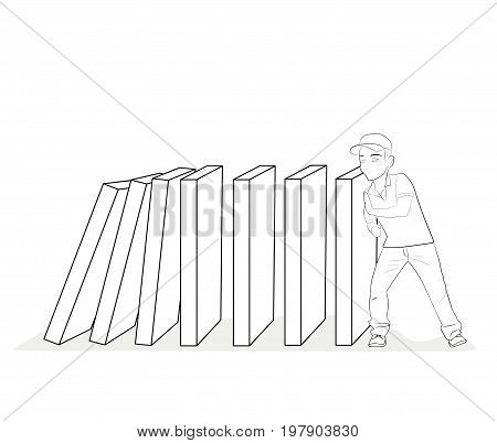 Domino effect. Stopping chain reaction business solution. Successful intervention. Man stops falling domino pushes hands. Vector illustration flat design. Isolated on background.