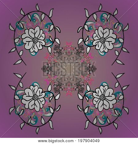 Snowflake ornamental pattern. Snowflakes background. Flat design with abstract snowflakes isolated on colorful background. Snowflakes pattern. Vector illustration.