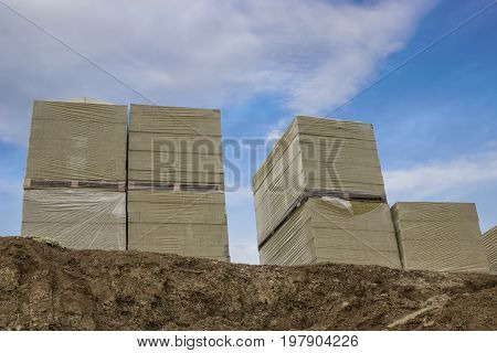 Stacks Of Mineral Rock Wool Board Insulation