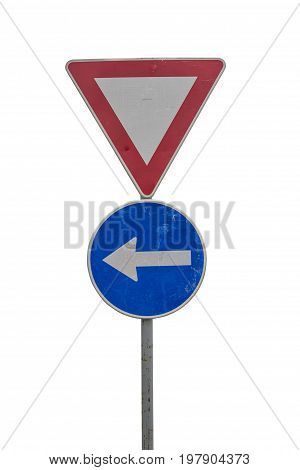 Traffic Sign For Give Way And Blue Direction Sign