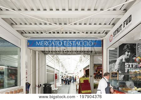 Rome Italy march 24 2017: entrance of the new Testaccio Neighborhood market in Rome Italy
