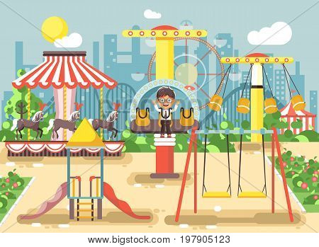 Stock vector illustration of cartoon character lonely boy child schoolboy resting in empty amusement park ride on swing, chain or horses carousel, roller coaster, extreme rest in flat style