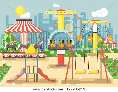 Stock vector illustration of empty amusement park outdoor with swings, chain or horses carousels, carnival fair roller coaster, entertainment and recreation, extreme rest in flat style