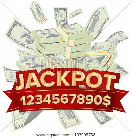 Big Win Vector. Big Winner Poster. You Win. Falling Explosion Golden Coins. Dollars Money Banknotes Stacks